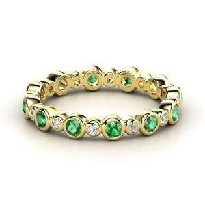 Heartbeat Band, 14K Yellow Gold Ring with Emerald & Diamond