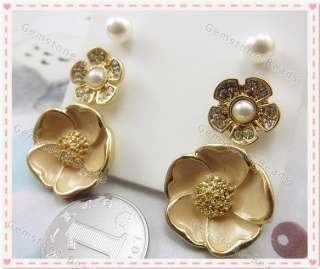Gold Plated Enamel Flower Imitation Pearl Ear Stud Fashion Earring Set