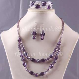 New Crystal Beads Necklace Bracelet Earrings SET E550