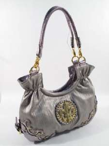NEW FLEUR DE LIS Bag Handbag Purse PEWTER Silver GOLD Crystals Studs
