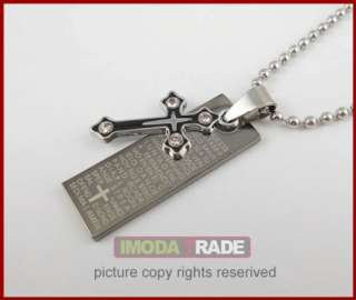 S137 Cross & Bible Stainless Steel Pendant Dog Tag