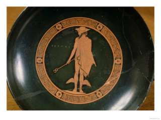 Greek Red Figure Cup, Depicting the God Hermes (Pottery) Giclee Print