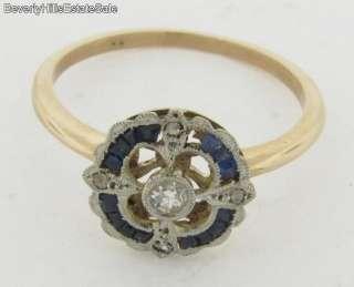 Antique Art Deco Diamonds Sapphires White & Yellow Gold Ring