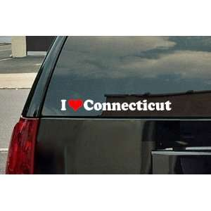 I Love Connecticut Vinyl Decal   White with a red heart