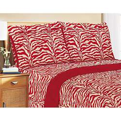 Red and White Zebra Print King size Quilt