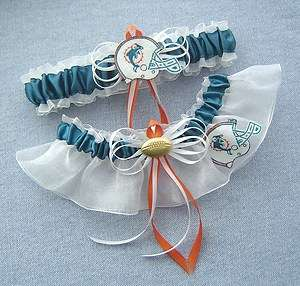 Miami Dolphins Wedding Bridal Garter Set with Gift Box