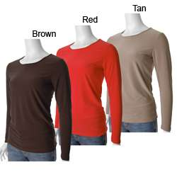 Adi Designs Womens Jewel Neck Long sleeve Stretch T shirt