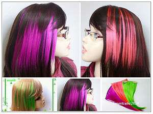 Party Colored Bangs Fringe Clip on Hair Extension (Purple, Hot Pink