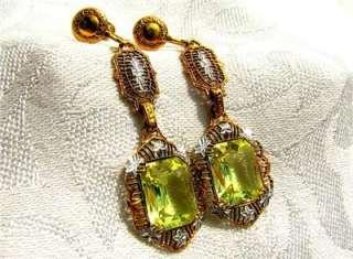 1920s ART DECO 14k Gold Plate VASELINE GLASS Filigree EARRINGS