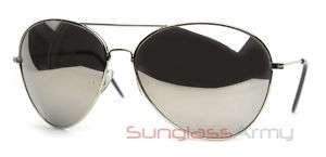 Large Aviator Sunglasses   Silver w/ Mirror Lens