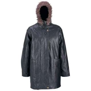Hand Sewn Pebble Genuine Leather Ladies Coat Faux Fur
