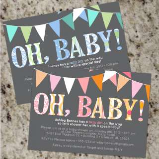OH, BABY* Mod Baby Shower Invitations   Boy or Girl   Personalized