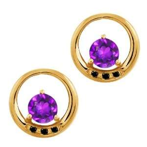 0.94 Ct Round Purple Amethyst and Diamond Gold Plated