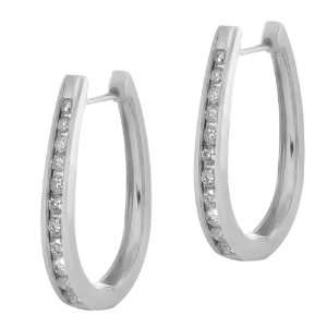 0.77 Ct Round Cut 14K White Gold Diamond Hoop Earrings
