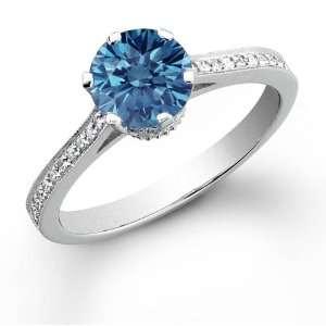 14k White Gold 0.77 ct Round cut Blue Diamond Ring (.77 ct