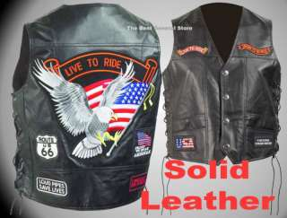 Solid Leather Motorcycle Vest with Live To Ride Patches