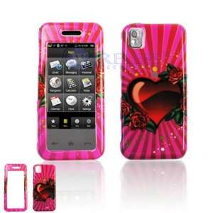 Hot Pink with Red Rose Hearts Love Design Snap On Cover Hard Case Cell