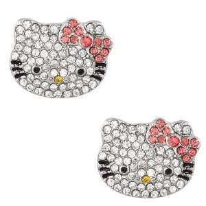 Hello Kitty rhinestone earrings with pink bow Arts, Crafts & Sewing