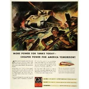 1943 Ad General Motors Diesel Power Engine Military Tank G