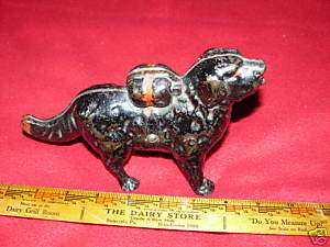 Very Old Black Painted Cast Iron Dog Bank