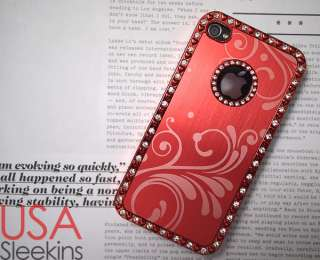 4S HIGH QUALITY LUXURY BLING DESIGNER STONE CASE RED FOR APPLE