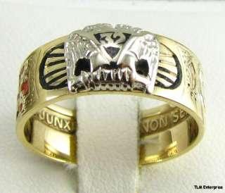 Scottish Rite Masonic Symbol Band   10k Gold Masons Ring Shriners