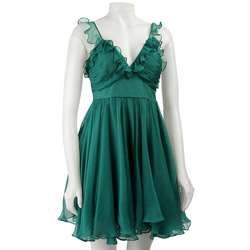 Walter Womens Teal Chiffon Party Dress