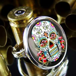 Los Muertos Day of the Dead Tattoo Goth Punk Sterling Silver Ring R 65