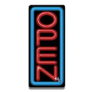 Vertical Neon Open Sign   Blue Border & Red Letters Office Products
