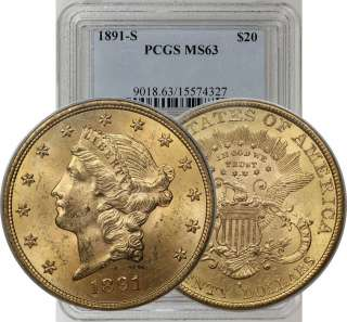 1891 S $20 GOLD DOUBLE EAGLE LIBERTY COIN PCGS MS63
