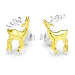 925 Sterling Silver 18K Gold Plated Little Reindeer Deer Two Tone Post