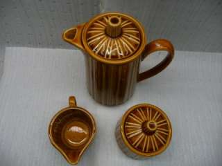 Royal Sealy Japan Pitcher creamer sugar brown stripe lt