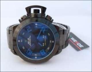 MASSIVE Black/Blue Multi Function Dual Time U Boat Fashion Watch NiB