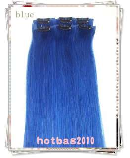 20 6pcs 100% Real HUMAN HAIR CLIP IN EXTENSION #Blue,30g/set