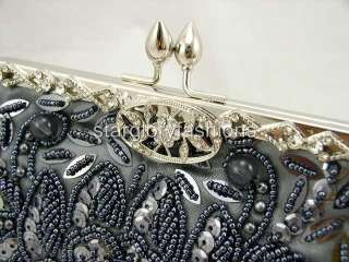 Silver Gray Beaded Sequin Evening Clutch Crystal Frame