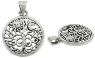Celtic Tree of Life Sun Moon Sterling Silver Pendant