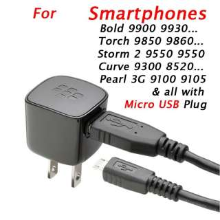 BlackBerry Micro USB Wall+Cable Charger For Bold 9900 9930 Torch 9850