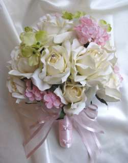 17pc Bouquet wedding flowers Decorations IVORY PINK