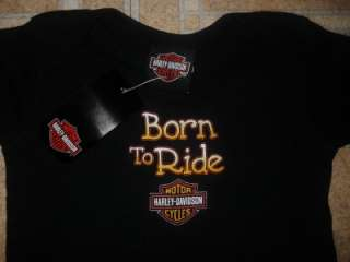 Boys Girls Born to Ride Black Harley Davidson Motorcycle T Shirt 24 m