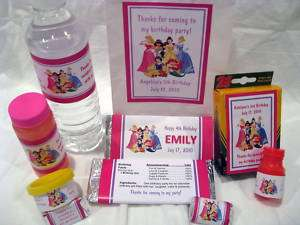 Disney Princess Birthday PDF CD w/ Favor Tag Water Candy Popcorn