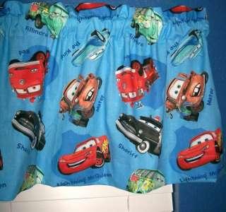 NEW Disney BLUE CARS Window Valance 42X14 Curtain