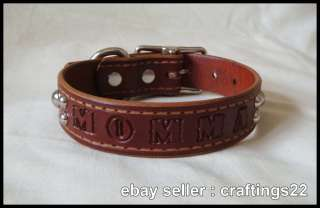 REAL Leather Personalized Dog Collar Chestnut NEW
