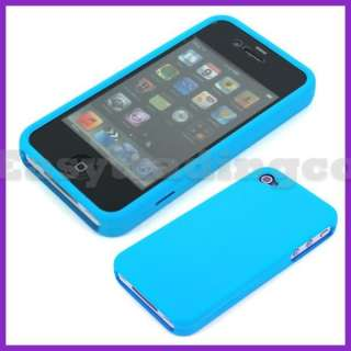 Full Hard Rubberized Silicone Case Cover iPhone 4 4S Sky Blue