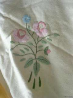 Fab Vtg Embroidered King Bedspread Wool Blanket 102x96 Floral