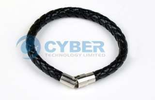 Leather and Stainless Steel Braided Bracelet Wristband Jewelry Hot