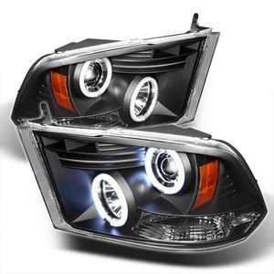 09 10 Dodge Ram 1500 Black CCFL Halo Projector Headlights Automotive