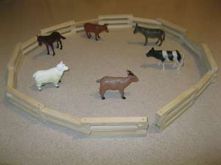 to 5 Farm Animals with wooden toy fence