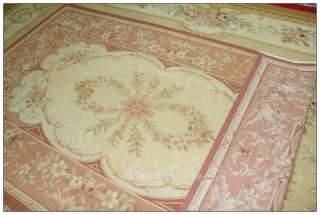 ANTIQUE PINK Aubusson Area Rug ROSE FRENCH FLORAL Wool Woven Handmade