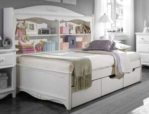 Youth White Full Bookcase Platform Bed