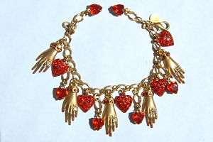 Askew London Gold Red Crystal Hands Hearts Bracelet